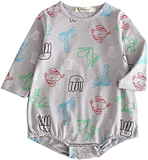 ALLAIBB Toddler Unisex Babies Autumn Long Sleeve Romper Cotton Cartoon Graffiti Jumpsuit