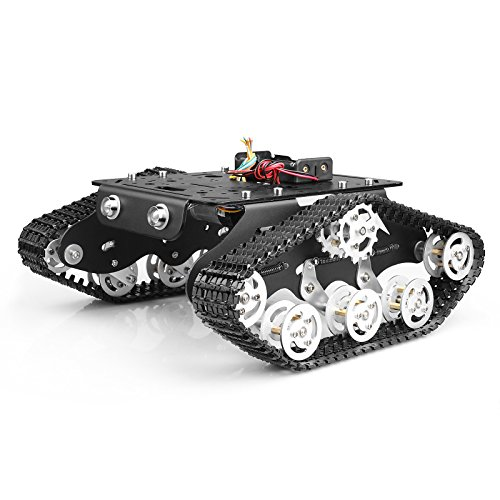 Tracked Robot Smart Car Platform with Damping Effect System Metal Tank Chassis with Powerful Dual DC 9V Motor for Arduino Raspberry Pi DIY Kit STEM Education, Easy Assembly (11.0x9.8x4.5inch, 3.28lb)