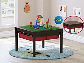 UTEX 2 in 1 Kids Construction Play Table with Storage Drawers and Built in Plate (Espresso)