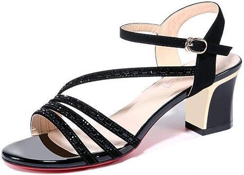 LTN Ltd - sandals EnrouleHommest épais Sandales à à Talons Femme été Mode Chaussures Populaires Chaussures D'été à Talons Hauts Wenzhou Chaussures D'été, Noir, 38  Envoi gratuit pour toutes les commandes