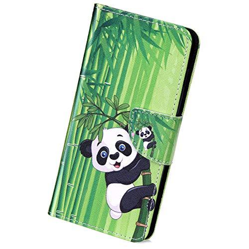 Herbests Compatible avec Huawei P20 Pro Housse Silicone Étui Ultra Mince Ultra-Light Etui Soft TPU Flexible Gel Bumper Vintage Retro Design élégant Housse à Rabat Magnétique Housse,Panda