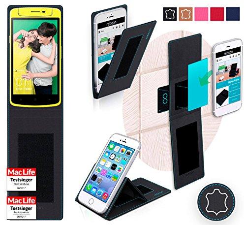 reboon Hülle für Oppo N1 Mini Tasche Cover Case Bumper | Schwarz Leder | Testsieger