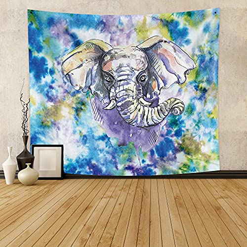 OFila Elephant Tapestry for Bedroom,Psychedelic Indian Mandala Animal Boho Elephant Tapestry,Hippie Art Colorful Watercolor Wall Hanging for Girls Bedroom Living Room Dorm Decor 33.9x27.6 Inch