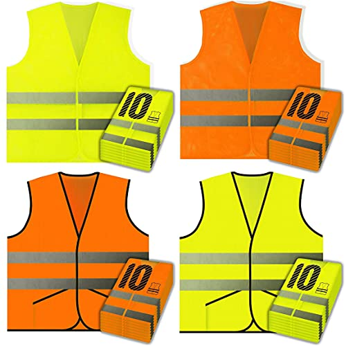 Ultimate 40 Pack Variety Safety Vest Pack - 10pc Yellow Mesh, 10pc Orange Mesh, 10pc Yellow Pocket Knitted, 10pc Orange Pocket Knitted