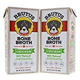 Brutus Bone Broth for Dogs 64 oz| All Natural| Made in USA| Glucosamine & Chondroitin for Healthy Joints| Human Grade Ingredients| Hydrating Dog Food Topper & Gravy for All Ages(Chicken 2-Pack)