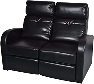 H.BETTER Leather Home Cinema Recliner Reclining Sofa 2-seat Loveseat Home Theater Seating Adjustable Backrest and Footrest Black