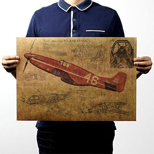 EgBert Retro Vintage Wall Poster Decals Papier Poster Kampfflugzeug Poster Flugzeug Wandaufkleber Für Haus B
