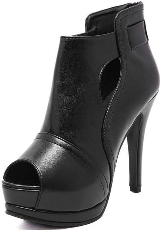 Frauen High Heel Fish Mouth Tower wasserdicht Taiwan Fine Heel 12 cm Short Stiefel schwarz