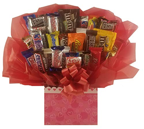 Chocolate Candy Bouquet gift box - Great as gift for Mothers day, Birthday, Thank You, Get Well Soon, Congratulations gift or for any occasion (Scalloped Heart Gift Box)