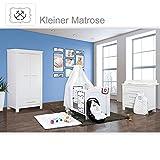Babyzimmer Enni in weiss 10 tlg. mit 2 türigem Kl. + Textilien von Kleiner Matrose in Blau