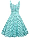 Belle Poque Women Vintage 1950s Plaid Tea Length Wedding Dresses L, Green Plaid