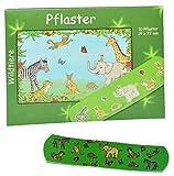 Unbekannt 10 Kinderpflaster im Pflasterheft mit Wildtiere - Motiv - Pflaster für Kinder und Erwachsene - Kinderpflaster - Zootiere Elefant Zebra Tiger Mädchen Jungen