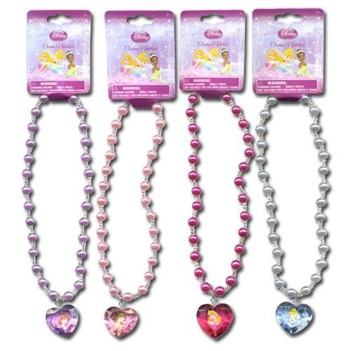 Disney Princess Charm Necklace Gift Set - Includes 4! One of each color w/Different Princess 16