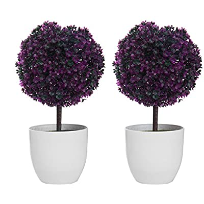 Set of 2 Artificial Faux Potted Tabletop Flower Plant Topiary w/ White Planter Pots - MyGift® Home Decor