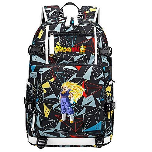 ZZGOO-LL Dragon Ball Son Goku/Vegeta IV/Torankusu Anime Cosplay Bookbag College Bag Backpack School Bag with USB Charging Port-H