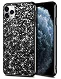 Wollony iPhone 11 Pro Max Case Glitter Sparkle Bling Shiny Cover for Girl Ultra Slim Durable Hybrid TPU Shockproof Bumper Hard Anti-Slip Back Protective Cover for iPhone 11 Pro Max 6.5inch Black