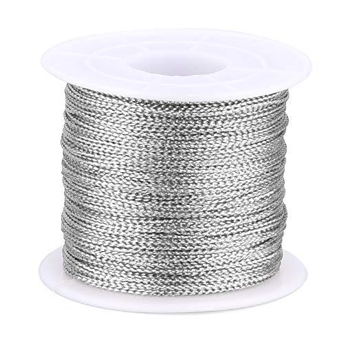 jijAcraft Silberne Weihnachtsschnur, 100M Silberfaden-Twist-Krawatten mit Spule, Silberne Metallschnur für Weihnachtsschnur, Polyesterschnur-Schmuckschnur, DIY-Bastelschnur und Verpackungsschnur