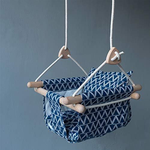 Baby Swing Seat, Ademend Draagbare Stof Schommelstoel Voor Eenvoudige Montage Geschikt Voor Binnen En Buiten,Blue