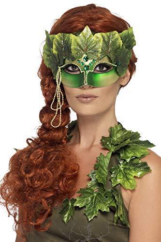 Smiffys 43748 - Waldfee Augenmaske mit Stoffblättern und Juwelen, grün
