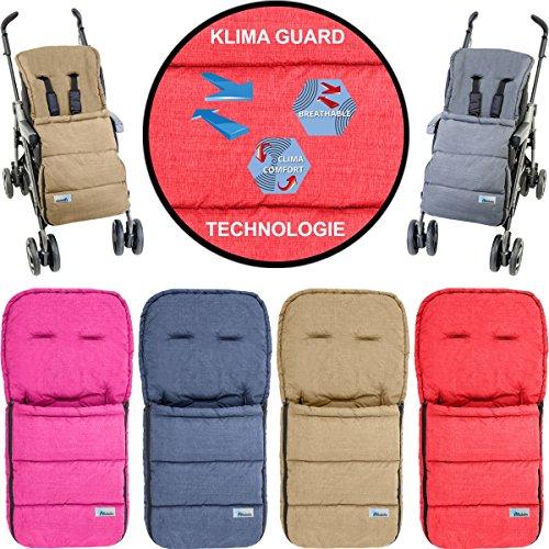 Fußsack/Sommerfußsack (Mit KLIMA GUARD - TECHNOLOGIE) für Kinderwagen/Buggy/Jogger Kinder (HELLBRAUN)
