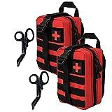 Krisvie EMT Borsa di Primo Soccorso Medico di Sopravvivenza Sacchetto di Emergenza Tattica, Tattico Molle Marsupio+Acciaio Inossidabile Benda Forbici Heavy Duty Set (Rosso 2Pcs)