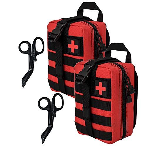 Krisvie Médica Bolsa Primeros Auxilios Bolsa Táctica Compacta Botiquín y el Esquileo de los Primeros Auxilios (rojo-2pack)