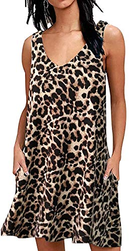 AUSELILY Women Summer Casual T Shirt Dresses Beach Cover up Plain Pleated Tank Dress (XL, Spotted Pattern Leopard)