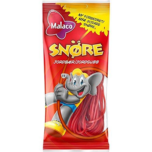 Malaco Snöre Jordgubb - Schwedisch Erdbeere Weich und Zäh Schnüre Weingummi Süßigkeiten 94g x 2 stck
