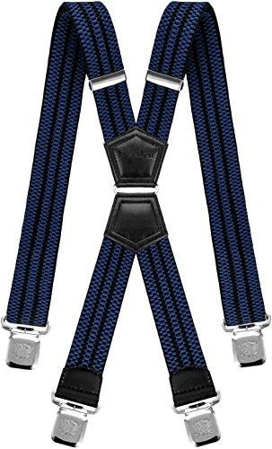 Decalen Hosenträger für Herren mit 4 Starken Clips X Form Lang Eine Größe Passt Alle Verschiedenen Farben (Blau Schwarz)
