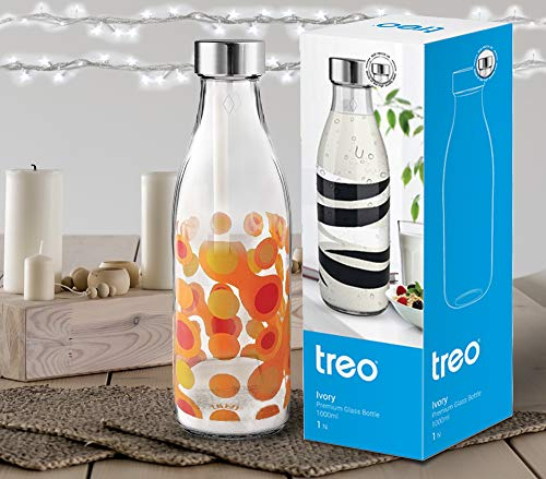 Treo by Milton Ivory Premium Glass Printed Bottle 1000 ml, 1 Piece, Orange Circles
