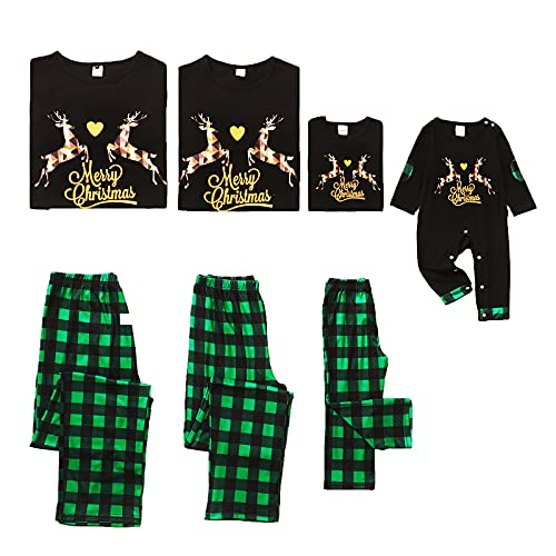 NCONCO Conjunto de trajes de Navidad para familia de Elk Plaid Nightwear Pijamas de Navidad para...