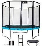 Kangui - Trampoline de jardin rond 305 cm + filet + échelle + bâche + kit d'ancrage PUNCHI Bleu
