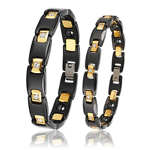 Faithvhk Magnetic Bracelet for Couple, Health Care Anti-Fatigue Bracelet, Black Ceramic Electroplated Gold Inlaid Zircon Magnet Bracelet, Jewelry Gift Weight Loss Chain Bangle
