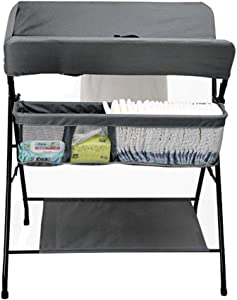 MY1MEY Folding Baby Changing Station with Storage  Newborn Dresser Table Portable Diaper Organizer  Cross Leg Style  Gray