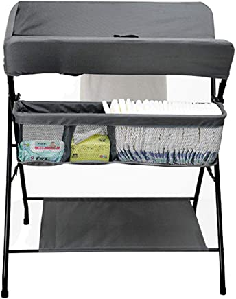 AFDK Folding Changing Station with Storage  Dresser Table Portable Diaper Organizer  Cross Leg Style  Gray