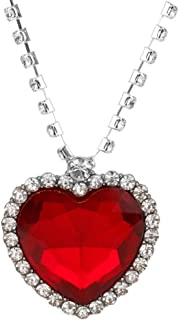 Titanic Heart of The Ocean Neckalce, Royal Blue Crystal Created Sapphire Pendant with Silver Plated Necklace Jewelry