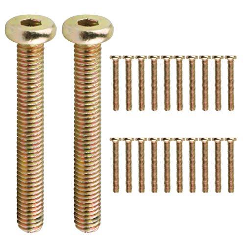 20 tornillos para cuna M6 x 45 mm, galvanizados hexagonales para cuna, tornillos para cama, cabeceros, sillas y muebles