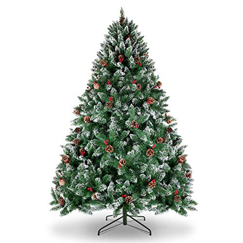 WBHome 6 Feet Snow Flocked Premium Spruce Hinged Artificial Christmas Tree, 800 Branch Tips with Pine Cones, Unlit (6FT)