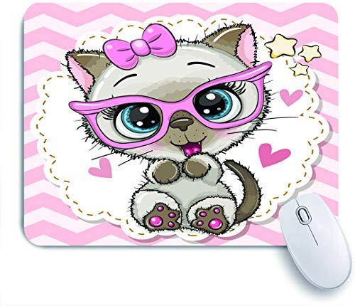 SUHOM Gaming Mouse Pad Rutschfeste Gummibasis,Nettes Karikatur-siamesisches Kätzchenmädchen in den rosa Brillen mit einer Schleife,für Computer Laptop Office Desk,240 x 200mm