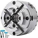 VEVOR Mandrino per Tornio Professionale in Metallo Dimensioni 125mm Mandrino per Tornio a 4 Ganasce M33 x 3,5 51059210 per Tornio da Legno