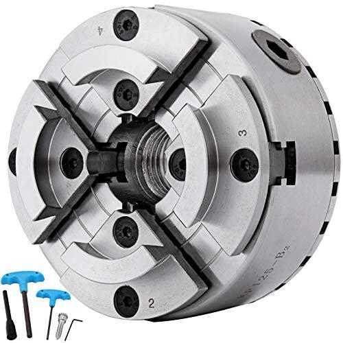 VEVOR MX-125 Mandrino per Tornio Professionale in Metallo Dimensioni 125mm Mandrino per Tornio a 4 Ganasce per Serraggio di Alberi/Dischi Sospesi/Triangoli Equilateri
