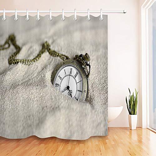 Reloj de Bolsillo Vintage Arena Cortina de Ducha de baño,poliéster Impermeable y de Secado rápido,patrón de Alta definición,12ganchos,180X180cm,decoración del hogar