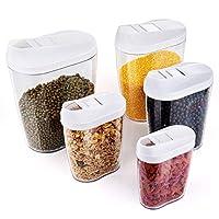 Questo set di 5 è meraviglioso per il cibo. Che si tratti di farina, zucchero, riso, cereali, cereali, caffè o simili - la tua cucina è sempre in ordine. Con apertura scorrevole per un dosaggio semplice - I componenti di alta qualità garantiscono un ...