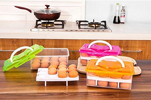 E-meoly Portable Grande capacité Plastique double couches Oeuf de conservation Capacité 24 oeufs incassable antidérapant support pour œufs avec poignée pour pique-nique et réfrigérateur