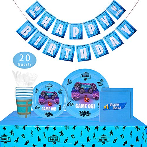 Video Game Party Supplies - 142 PCS Game On Party Decoration for Boys Birthday Party, Balloons, Banner, Plates, Cups, Napkins, Tablecloth, Spoon, Forks, and Knives, Serves 20