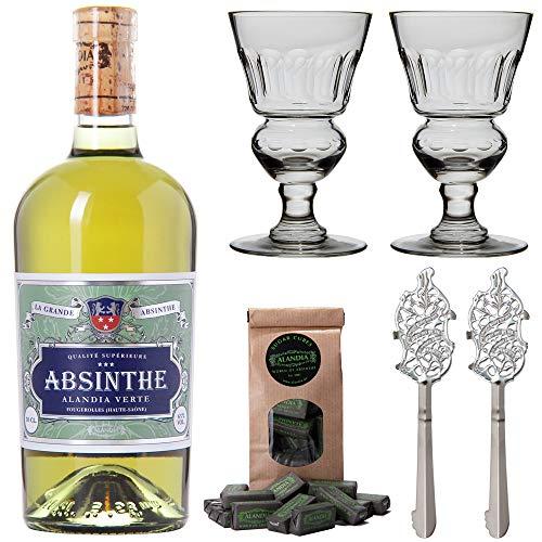 Absinth Set ALANDIA Verte | Grüner Absinth mit traditionellem 19. Jh. Rezept | 2x Absinth-Gläser / 2x Absinth-Löffel / 1x Absinth-Zuckerwürfel | (1x 0.5 l)