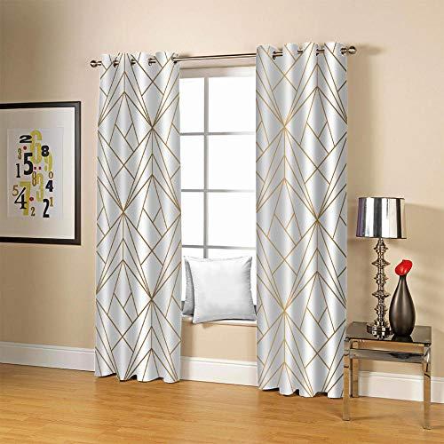 Cortinas Opacas Dormitorio Blanco Simple 3D Modernas Impresión Cortinas Opacas Aislamiento térmico Sala de Estar Opacas 100% Poliéster Cortinas 2x117x138cm(AnxAl)