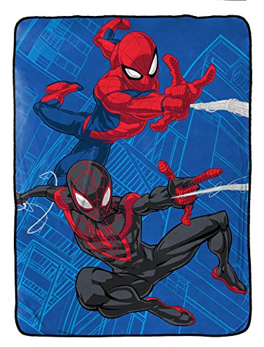 Jay Franco Marvel Spiderman Raschel Blanket - Measures 60 x 80 inches, Kids Bedding Features Miles Morales - Fade Resistant Super Soft (Official Marvel Product)
