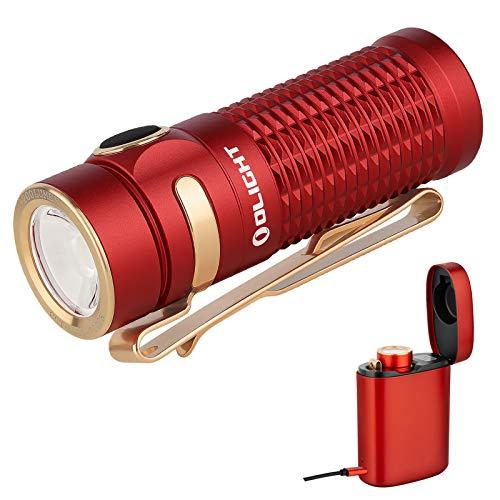 Olight Baton 3 Kit Linterna LED Recargable Pequeño,1200 Lumens 6 Modo Impermeable IPX8,Mini Linterna LED alta Potencia profesional, con Batería 16340 y cargador inalámbrico (Rojo Kit)