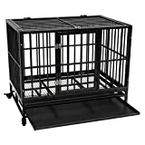Aveland 2021 US Dog Cage, Heavy Duty Metal Cage Crate Kennel Pet Playpen with Tray, 42' CA